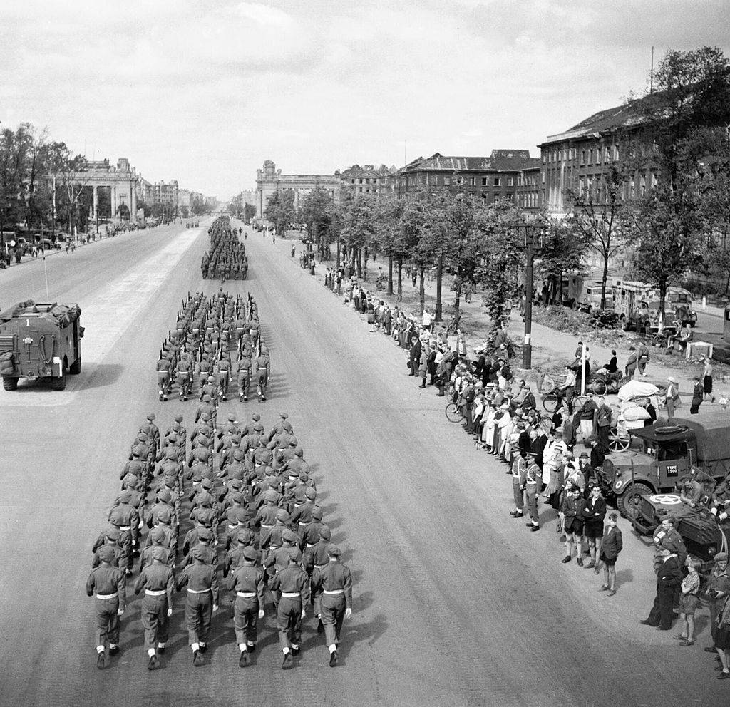British Victory Parade in Berlin: British troops march down the Charlottenburg Chaussee, Berlin