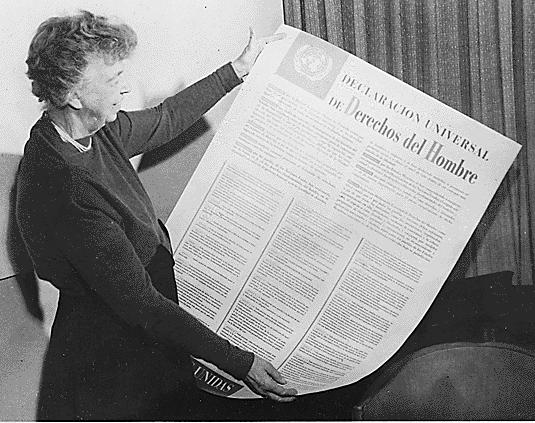 Eleanor Roosevelt z Powszechną deklaracją praw człowieka