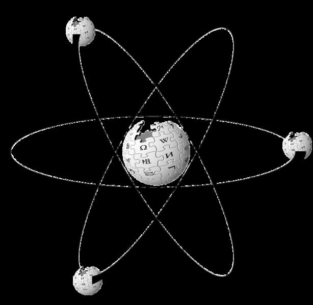 Logo Wikipedii jako atom